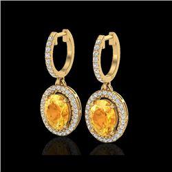 3.50 ctw Citrine & Micro Pave VS/SI Diamond Earrings 18K Yellow Gold