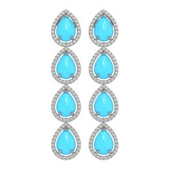 8.40 ctw Turquoise & Diamond Micro Pave Halo Earrings 10K White Gold