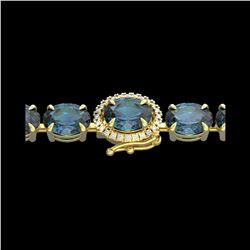 36 ctw London Blue Topaz & VS/SI Diamond Micro Bracelet 14K Yellow Gold