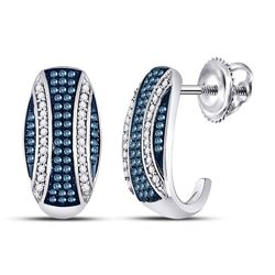 10kt White Gold Round Blue Color Enhanced Diamond Half J Hoop Earrings 3/8 Cttw