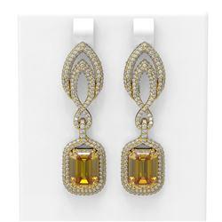 11.95 ctw Canary Citrine & Diamond Earrings 18K Yellow Gold