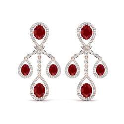 25.08 ctw Designer Ruby & VS Diamond Earrings 18K Rose Gold