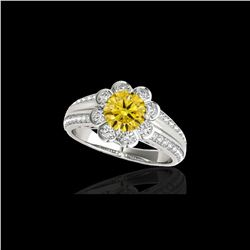 2.05 ctw Certified SI/I Fancy Intense Yellow Diamond Ring 10K White Gold