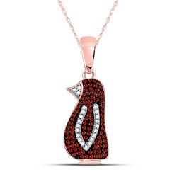 10kt Rose Gold Round Red Color Enhanced Diamond Penguin Bird Pendant 1/4 Cttw