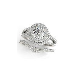 2.47 ctw Certified VS/SI Diamond 2pc Wedding Set Halo 14K White Gold