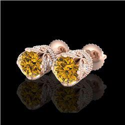 3 ctw Intense Fancy Yellow Diamond Art Deco Earrings 18K Rose Gold