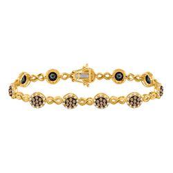 10kt Yellow Gold Round Brown Diamond Infinity Bracelet 2-1/5 Cttw