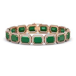 38.61 ctw Emerald & Diamond Micro Pave Halo Bracelet 10K Rose Gold