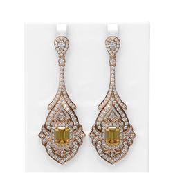 18.29 ctw Canary Citrine & Diamond Earrings 18K Rose Gold