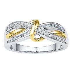 10kt White Two-tone Gold Round Diamond Yellow Twist Strand Band 1/5 Cttw