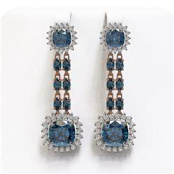 20.04 ctw London Topaz & Diamond Earrings 14K Rose Gold