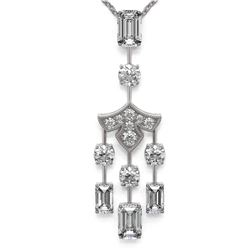 2.75 ctw Emerald Cut Diamond Designer Necklace 18K White Gold