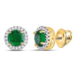 10kt Yellow Gold Round Lab-Created Emerald Solitaire Stud Earrings 1.00 Cttw