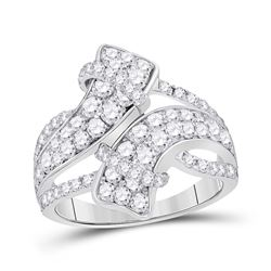 14kt White Gold Round Diamond Bypass Crossover Band Ring 2.00 Cttw