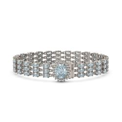 27.43 ctw Sky Topaz & Diamond Bracelet 14K White Gold