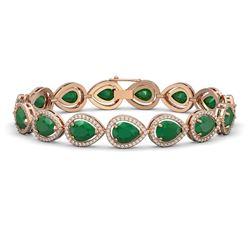 30.06 ctw Emerald & Diamond Micro Pave Halo Bracelet 10K Rose Gold