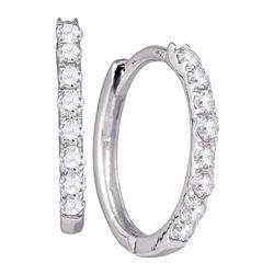 10kt White Gold Round Diamond Hoop Earrings 1/3 Cttw