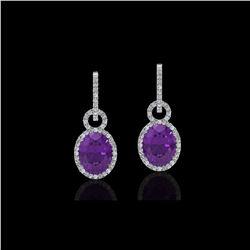 6 ctw Amethyst & Micro Pave Halo VS/SI Diamond Earrings 14K White Gold