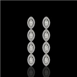 3.84 ctw Marquise Cut Diamond Micro Pave Earrings 18K White Gold