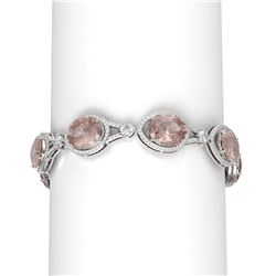 46.65 ctw Morganite & Diamond Bracelet 18K White Gold