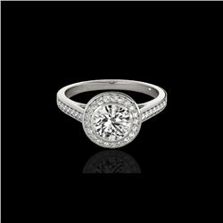1.3 ctw Certified Diamond Solitaire Halo Ring 10K White Gold