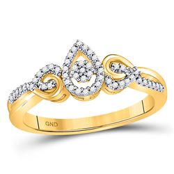 10kt Yellow Gold Round Diamond Teardrop Cluster Curl Ring 1/8 Cttw