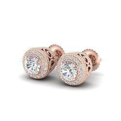 1.55 ctw VS/SI Diamond Solitaire Art Deco Stud Earrings 18K Rose Gold