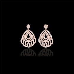 3 ctw Micro Pave VS/SI Diamond Earrings Designer 14K Rose Gold