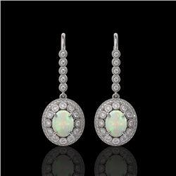 7.81 ctw Certified Opal & Diamond Victorian Earrings 14K White Gold