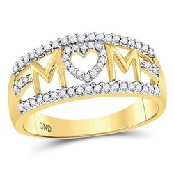 10kt Yellow Gold Round Diamond Mom Mother Heart Band Ring 1/4 Cttw