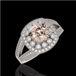2.29 ctw Certified Morganite & Diamond Victorian Ring 14K White Gold