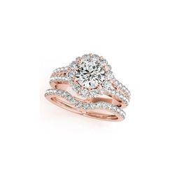 2.83 ctw Certified VS/SI Diamond 2pc Wedding Set Halo 14K Rose Gold