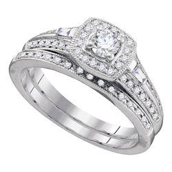 10k White Gold Round Diamond Bridal Wedding Engagement Ring Band Set 1/2 Cttw