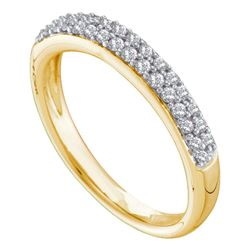 14kt Yellow Gold Round Pave-set Diamond Double Row Wedding Band 1/4 Cttw