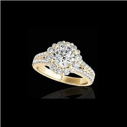 2.51 ctw Certified Diamond Solitaire Halo Ring 10K Yellow Gold
