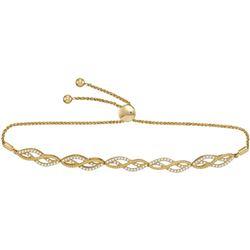 10kt Yellow Gold Round Diamond Bolo Bracelet 1/2 Cttw