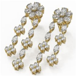 6 ctw Pear and Marquise Diamond Earrings 18K Yellow Gold
