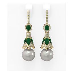 6.8 ctw Emerald & Diamond Earrings 18K Yellow Gold