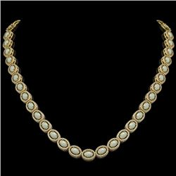 21.21 ctw Opal & Diamond Micro Pave Halo Necklace 10K Yellow Gold