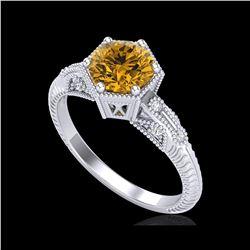 1.17 ctw Intense Fancy Yellow Diamond Art Deco Ring 18K White Gold