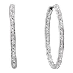 14kt White Gold Round Diamond Inside Outside Endless Hoop Earrings 1/4 Cttw