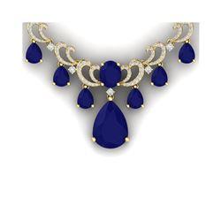 36.85 ctw Sapphire & VS Diamond Necklace 18K Yellow Gold