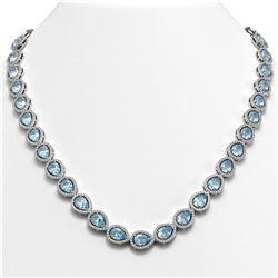 35.13 ctw Sky Topaz & Diamond Micro Pave Halo Necklace 10K White Gold