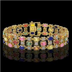 18.16 ctw Multi Color Sapphire & Diamond Row Bracelet 10K Yellow Gold