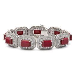 61.92 ctw Certified Ruby & Diamond Victorian Bracelet 14K White Gold