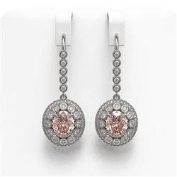 7.85 ctw Morganite & Diamond Victorian Earrings 14K White Gold