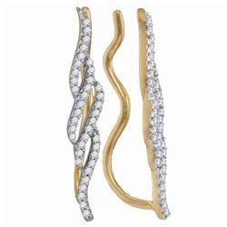 10kt Yellow Gold Round Diamond Vertical Twist Climber Earrings 1/4 Cttw