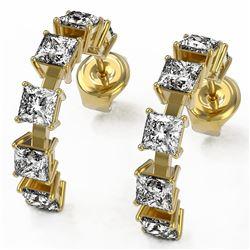 4 ctw Princess Cut Diamond Designer Earrings 18K Yellow Gold