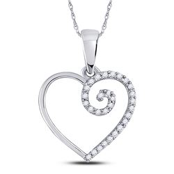 10kt White Gold Round Diamond Clef Heart Pendant 1/10 Cttw