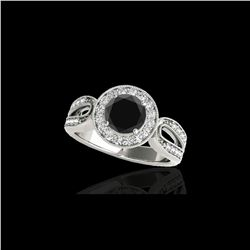 1.4 ctw Certified VS Black Diamond Solitaire Halo Ring 10K White Gold